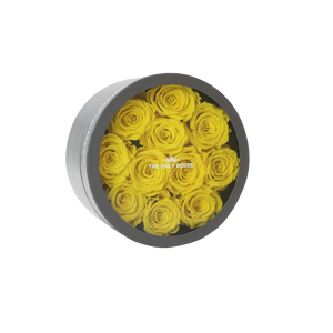 Yellow Preserved Roses | Small Round Classic Grey Box