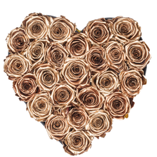 Load image into Gallery viewer, Gold Preserved Roses | Heart Black Huggy Rose Box - The Only Roses