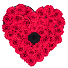 Load image into Gallery viewer, Red with One Black Preserved Roses | Heart Black Huggy Rose Box - The Only Roses