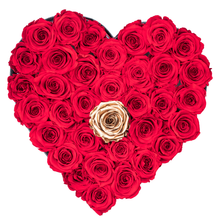 Load image into Gallery viewer, Red with One Gold Preserved Roses | Heart Black Huggy Rose Box - The Only Roses