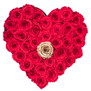 Red with One Gold Preserved Roses | Heart Black Huggy Rose Box - The Only Roses