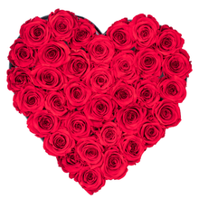 Load image into Gallery viewer, Red Preserved Roses | Heart Black Huggy Rose Box - The Only Roses