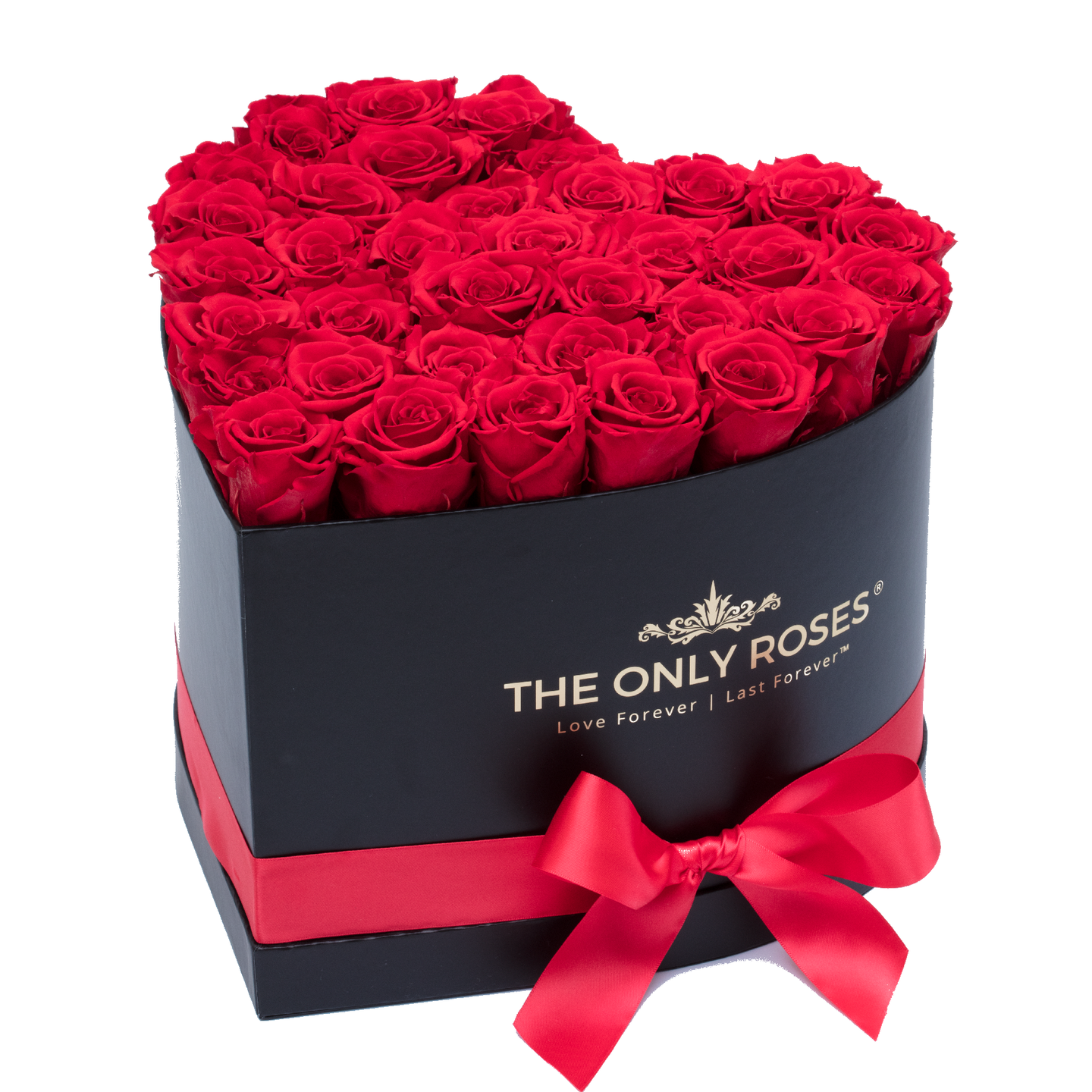 Red Preserved Roses | Heart Black Huggy Rose Box - The Only Roses