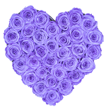 Load image into Gallery viewer, Purple Preserved Roses | Heart Black Huggy Rose Box - The Only Roses