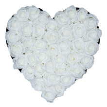 Load image into Gallery viewer, White Preserved Roses | Heart Black Huggy Rose Box - The Only Roses