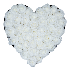 White Preserved Roses | Heart Black Huggy Rose Box - The Only Roses