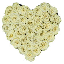 Load image into Gallery viewer, Light Yellow Preserved Roses | Heart Black Huggy Rose Box - The Only Roses