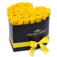 Load image into Gallery viewer, Yellow Preserved Roses | Heart Black Huggy Rose Box - The Only Roses