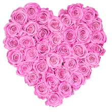 Load image into Gallery viewer, Pink Preserved Roses | Heart White Huggy Rose Box - The Only Roses