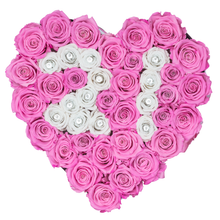 "Load image into Gallery viewer, Rose Number ""21"" Pink and White Preserved Roses 