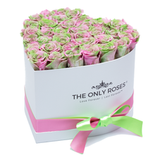 Load image into Gallery viewer, Pink and Green Preserved Roses | Heart White Huggy Rose Box - The Only Roses