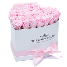 Load image into Gallery viewer, Light Pink Preserved Roses | Heart White Huggy Rose Box - The Only Roses