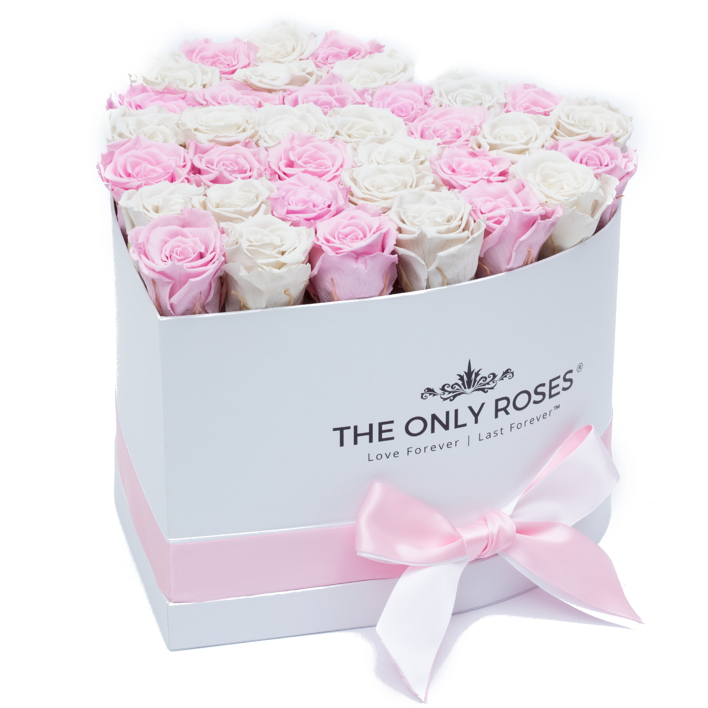 Light Pink and White Preserved Roses | Heart White Huggy Rose Box - The Only Roses