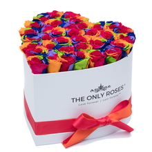 Load image into Gallery viewer, Rainbow Preserved Roses | Heart White Huggy Rose Box - The Only Roses