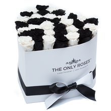 Load image into Gallery viewer, Black and White Preserved Roses | Heart White Huggy Rose Box - The Only Roses