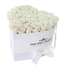 Load image into Gallery viewer, White Preserved Roses | White Heart Rose Hat Box