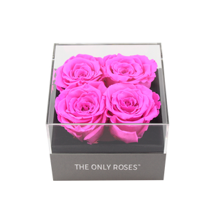 Hot Pink Preserved Roses | Small Square Classic Grey Box - The Only Roses