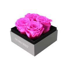 Load image into Gallery viewer, Hot Pink Preserved Roses | Small Square Classic Grey Box - The Only Roses