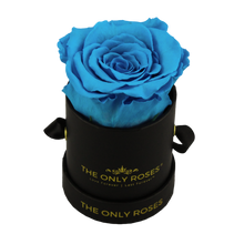 Load image into Gallery viewer, Black Petite Round Rose Hat Box | Single Preserved Rose