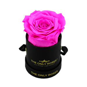 Black Petite Round Rose Hat Box | Single Preserved Rose