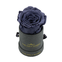 Load image into Gallery viewer, Grey Suede Petite Round Rose Hat Box | Single Preserved Rose