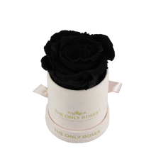 Load image into Gallery viewer, Pink Suede Petite Round Rose Hat Box | Single Preserved Rose