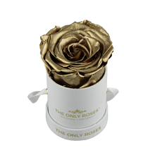 Load image into Gallery viewer, White Petite Round Rose Hat Box | Single Preserved Rose