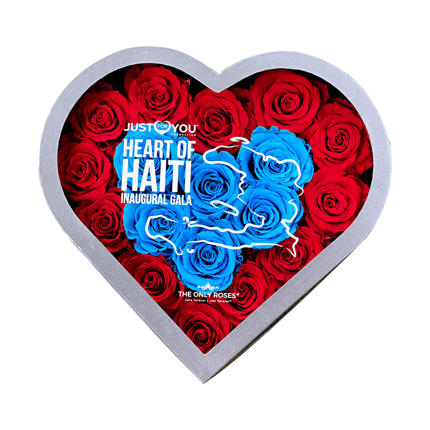 JUST FOR YOUR FOUNDATION | Heart of Haiti Gala Invitation Gift | MEDIUM HEART CLASSIC GREY BOX