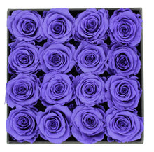 Load image into Gallery viewer, Deluxe Grey Open-top Square Box With 16 Purple Roses - The Only Roses