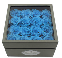 Load image into Gallery viewer, Deluxe Grey Open-top Square Box With 16 Blue Roses - The Only Roses