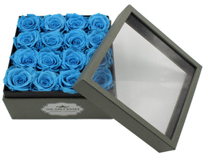 Deluxe Grey Open-top Square Box With 16 Blue Roses - The Only Roses