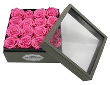 Load image into Gallery viewer, Deluxe Grey Open-top Square Box With 16 Pink Roses - The Only Roses