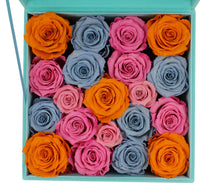 Load image into Gallery viewer, Special Edition Large Tiffany Blue Lint Square Box with Mixed Color Preserved Roses - The Only Roses