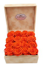 Load image into Gallery viewer, Special Edition Orange Lint Square Box with Orange Preserved Roses - The Only Roses