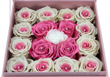 Load image into Gallery viewer, Special Edition Pink Lint Square Box with Mixed Pink and White Preserved Roses - The Only Roses