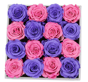 Special Edition Regular White Square Leather Box with Mixed Pink and Purple Preserved Roses - The Only Roses