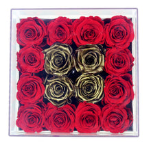 Load image into Gallery viewer, Special Edition Regular White Square Leather Box with Mixed Red and Gold Preserved Roses - The Only Roses
