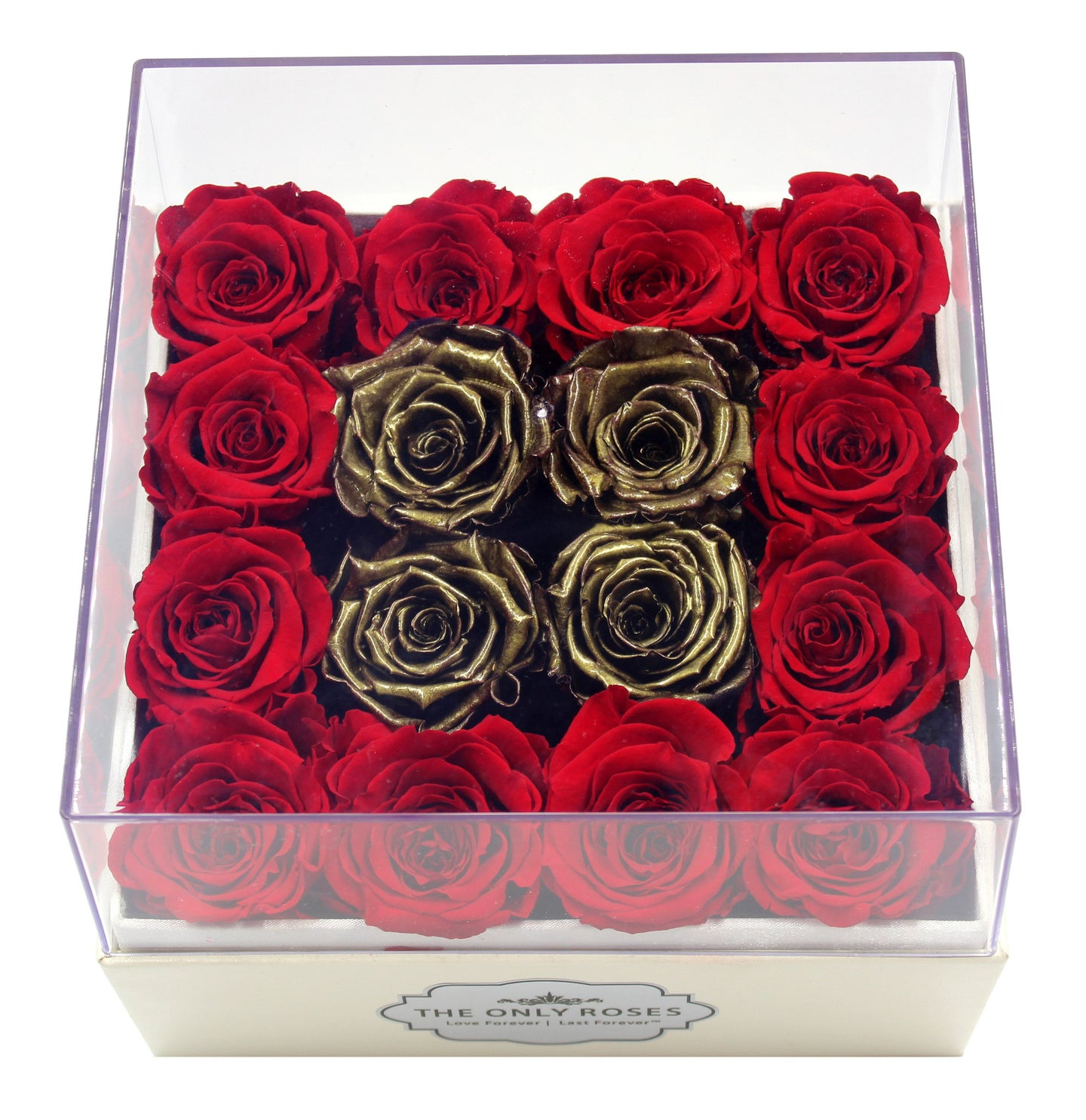 Special Edition Regular White Square Leather Box with Mixed Red and Gold Preserved Roses - The Only Roses