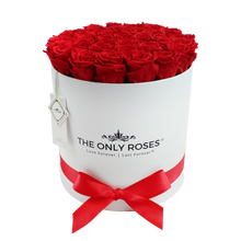 Load image into Gallery viewer, Red Preserved Roses | Large White Round Rose Hat Box