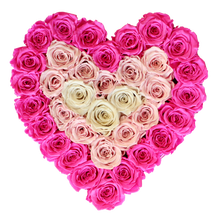 Load image into Gallery viewer, Special Pink Heart Preserved Roses | Heart White Huggy Rose Box