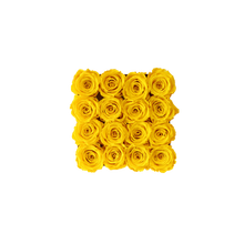 Load image into Gallery viewer, Yellow Preserved Roses | White Square Rose Hat Box