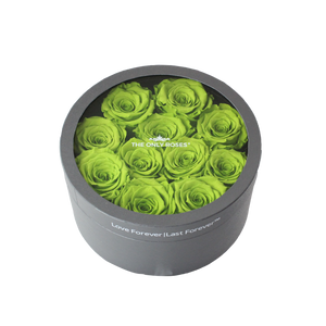 Green Preserved Roses | Small Round Classic Grey Box