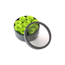 Load image into Gallery viewer, Green Preserved Roses | Small Round Classic Grey Box