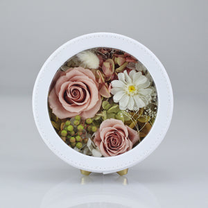 Preserved Flower Arrangement | White Color Round Leather Floral Box