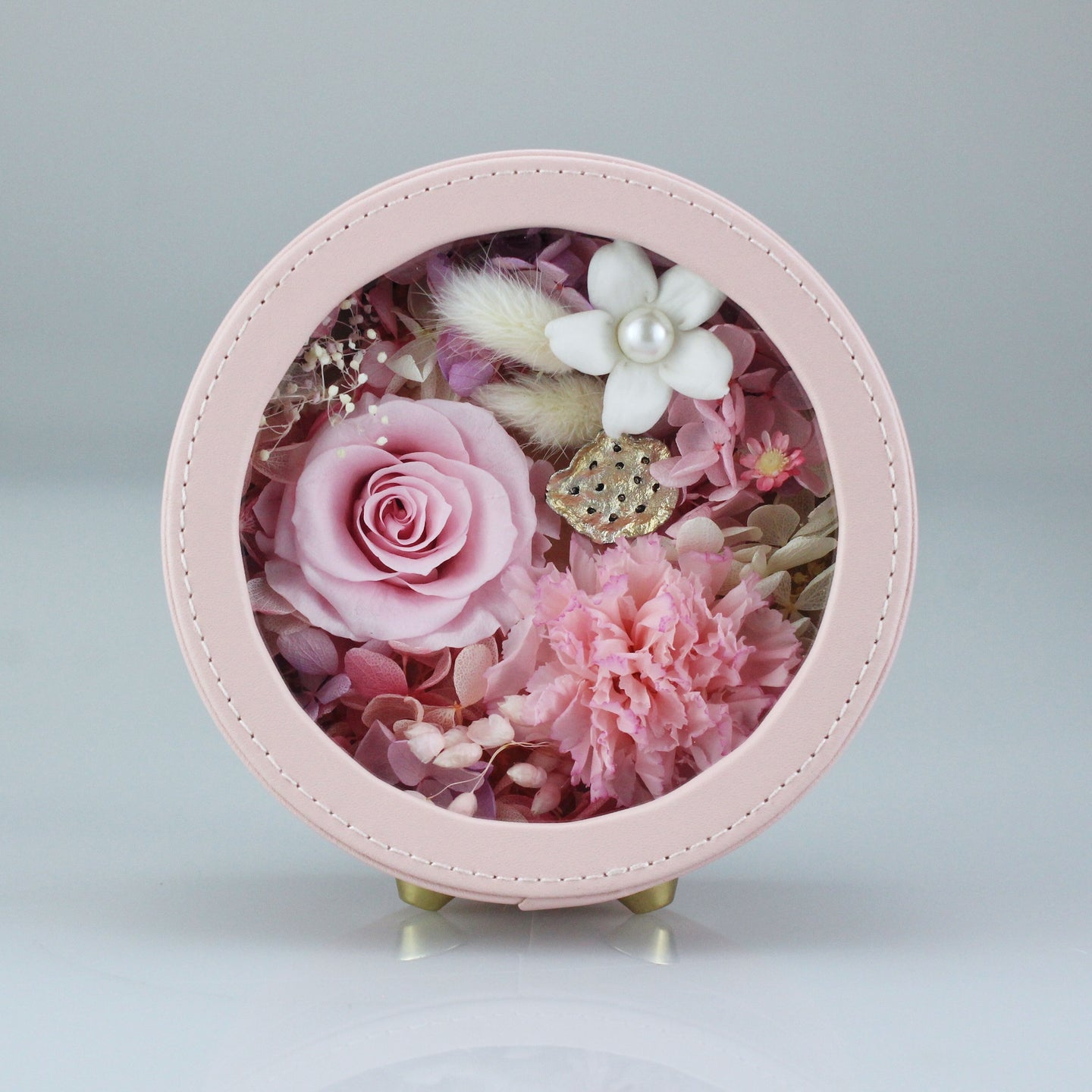 Preserved Flower Arrangement | Pink Color Round Leather Floral Box