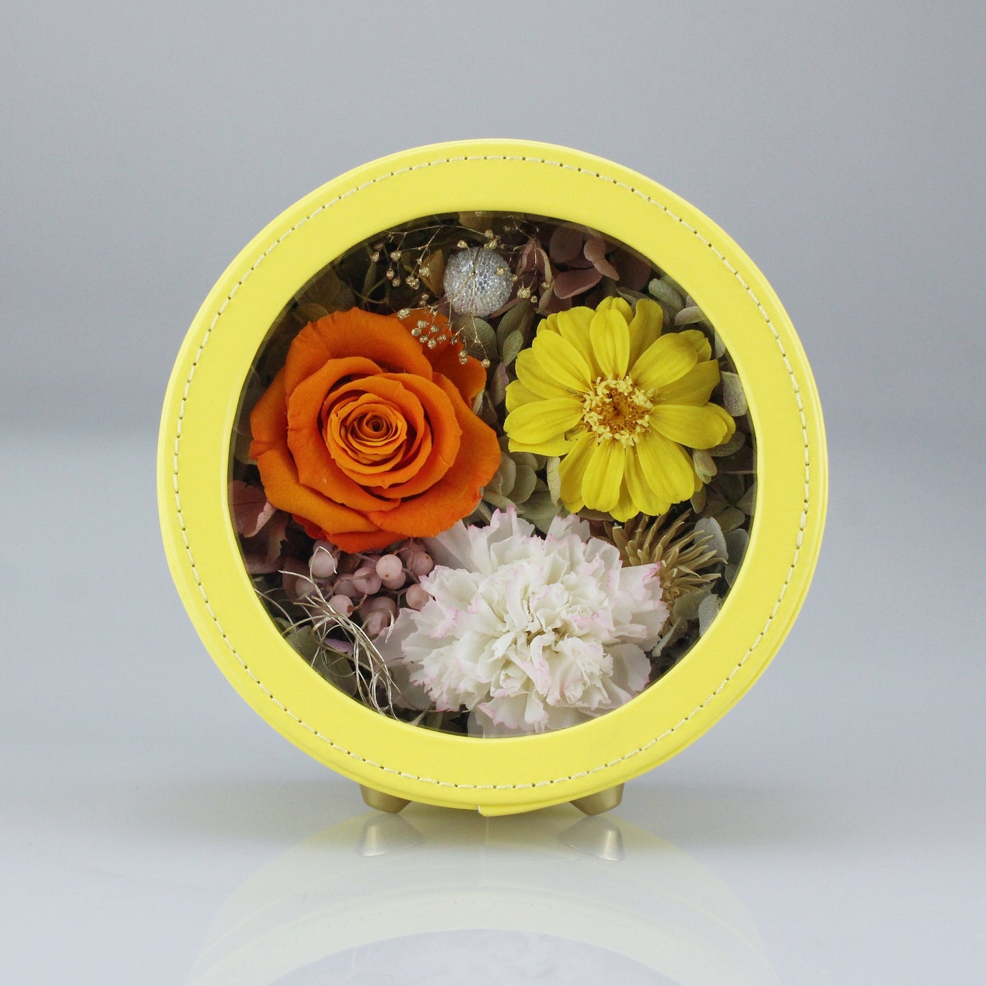 Preserved Flower Arrangement | Yellow Color Round Leather Floral Box