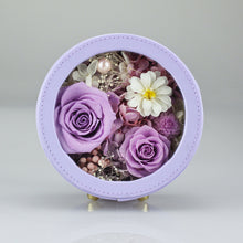 Load image into Gallery viewer, Preserved Flower Arrangement | Purple Color Round Leather Floral Box