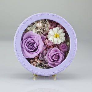 Preserved Flower Arrangement | Purple Color Round Leather Floral Box