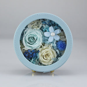 Preserved Flower Arrangement | Blue Color Round Leather Floral Box