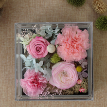 Load image into Gallery viewer, Preserved Real Pink Carnations Arrangement | Crystalline Rose Box - The Only Roses